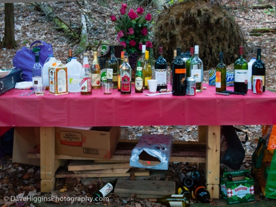 Many people brought beverages, which were collected on this table.