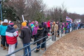 Gathering along the ramp